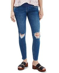 TOPSHOP - Blue 'jamie' Ripped Skinny Maternity Jeans - Lyst