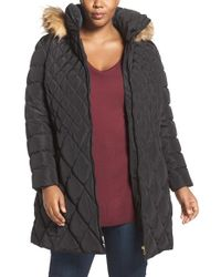 Jessica Simpson | Black Quilted Puffer Coat With Faux Fur Trim | Lyst