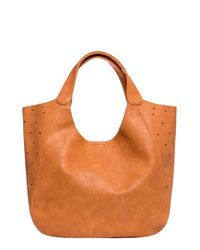 Urban Originals | Brown 'masterpiece' Perforated Faux Leather Tote | Lyst