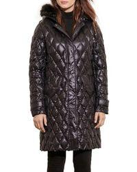 Lauren by Ralph Lauren | Faux Fur Trim Hooded Packable Down Coat, Black | Lyst