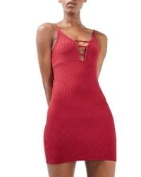 TOPSHOP | Red Strappy Ribbed Body-con Dress | Lyst