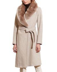 Lauren by Ralph Lauren - Natural Faux Fur Collar Wool Blend Long Wrap Coat - Lyst