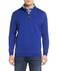 Bugatchi   Blue Quarter Zip Knit Pullover Sweater for Men   Lyst