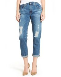 AG Jeans | Blue Ex-boyfriend Crop Slim Jeans | Lyst