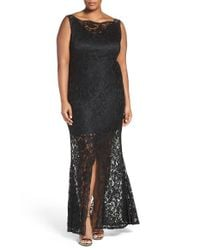 Marina - Black Sleeveless Lace Column Gown - Lyst