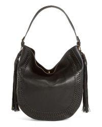 Phase 3 | Black Tassel Faux Leather Hobo Bag | Lyst