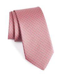 Ferragamo - Pink Geometric Silk Tie for Men - Lyst