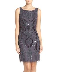 Adrianna Papell | Multicolor Embellished Mesh Sheath Dress | Lyst