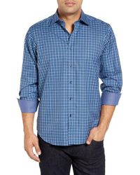Bugatchi - Blue Classic Tall Fit Check Sport Shirt for Men - Lyst