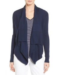 Nordstrom Collection | Blue Cashmere Drape Front Cardigan | Lyst