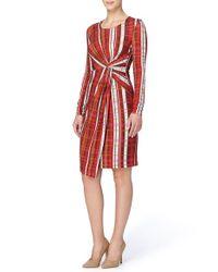 Catherine Malandrino | Red 'adele' Twist Front Print Sheath Dress | Lyst