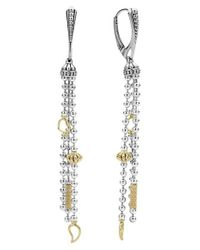 Lagos | Metallic 'caviar Icon' Linear Drop Earrings | Lyst