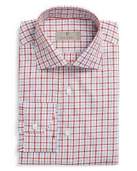 Canali   Red Regular Fit Check Dress Shirt for Men   Lyst