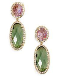 Jenny Packham - Green Double Drop Crystal Earrings - Lyst