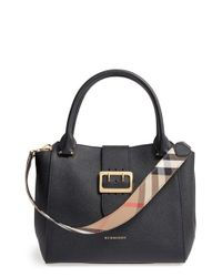 Burberry | Black Medium Buckle Leather Satchel | Lyst