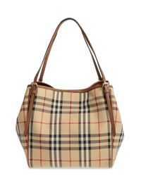 Burberry | Brown Small Canter Check & Leather Tote | Lyst
