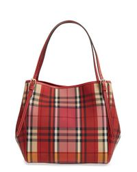 Burberry | Red 'small Canter' Horseferry Check & Leather Tote | Lyst