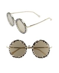 Le Specs | Metallic Hey Yeh 50mm Round Sunglasses - Leopard/ Gold | Lyst