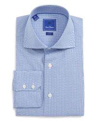 David Donahue Blue Trim Fit Check Dress Shirt for men