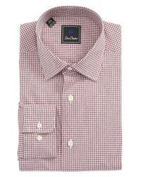 David Donahue Red Regular Fit Check Dress Shirt for men