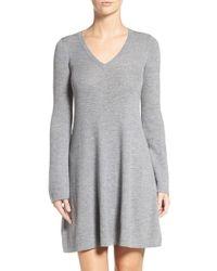 BCBGMAXAZRIA Gray 'althea' Ribbed Merino Wool A-line Dress
