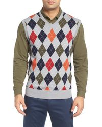 Bobby Jones | Gray Argyle Merino Wool Sweater Vest for Men | Lyst
