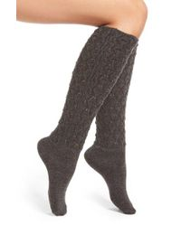Natori - Gray 'schiffli' Variegated Knit Knee High Socks - Lyst