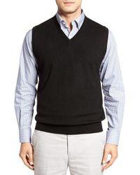 Peter Millar | Black Merino Wool V-neck Vest for Men | Lyst