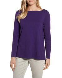 Eileen Fisher - Purple Bateau Neck Top - Lyst