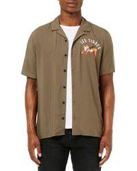 TOPMAN Green Tiger Print Short Sleeve Camp Shirt for men