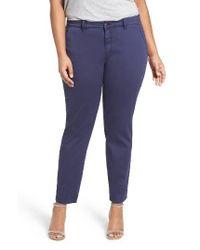 Sejour | Blue Stretch Cotton Ankle Pants | Lyst