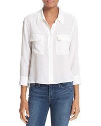Equipment | White 'signature' Crop Three Quarter Sleeve Shirt | Lyst
