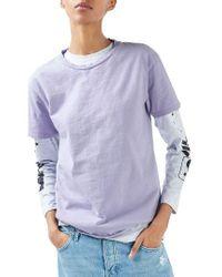TOPSHOP   Purple Distressed Edge Tee   Lyst