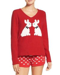 Betsey Johnson - Red Plush Sweater - Lyst