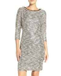 Chetta B | Gray Embellished Neck Metallic Knit Sheath Dress | Lyst