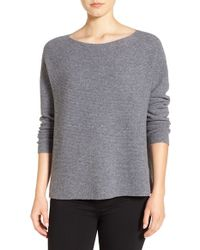Eileen Fisher | Gray Seamless Cashmere Bateau Neck Sweater | Lyst