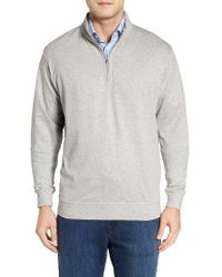 Peter Millar | Gray Quarter Zip Pullover for Men | Lyst