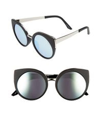 Quay | Black Last Dance Rounded Cat Eye Sunglasses, 53mm | Lyst