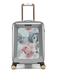 Ted Baker 'small Porcelain Rose' Four Wheel Suitcase - Metallic
