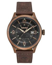 Timberland Brown Blake Leather Strap Watch for men