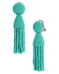 Oscar de la Renta | Green 'classic Short' Tassel Drop Earrings | Lyst