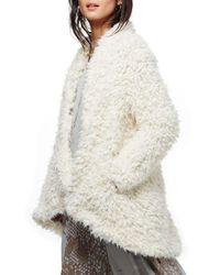 Free People White Drape Faux Fur Jacket