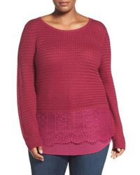 Lucky Brand Pink Layer Look Lace Mix Sweater
