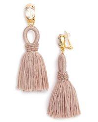 Oscar de la Renta | Metallic Silk Tassel Drop Earrings | Lyst