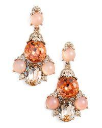 Oscar de la Renta - Pink Crystal Chandelier Earrings - Lyst