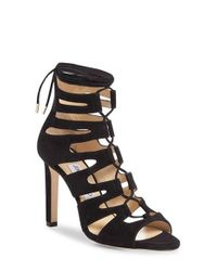 Jimmy Choo | Black 'hitch' Lace-up Cage Sandal | Lyst