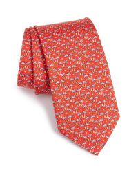 Ferragamo | Red Palm Tree & Sailboat Silk Tie for Men | Lyst
