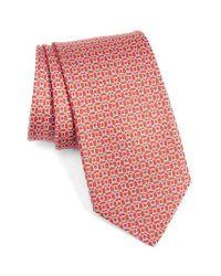Ferragamo | Red Gancini Print Silk Tie for Men | Lyst