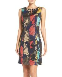 Ellen Tracy | Blue Embellished Metallic Jacquard Sheath Dress | Lyst