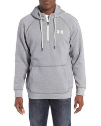 Under Armour | Gray Rival Quarter Zip Hoodie for Men | Lyst